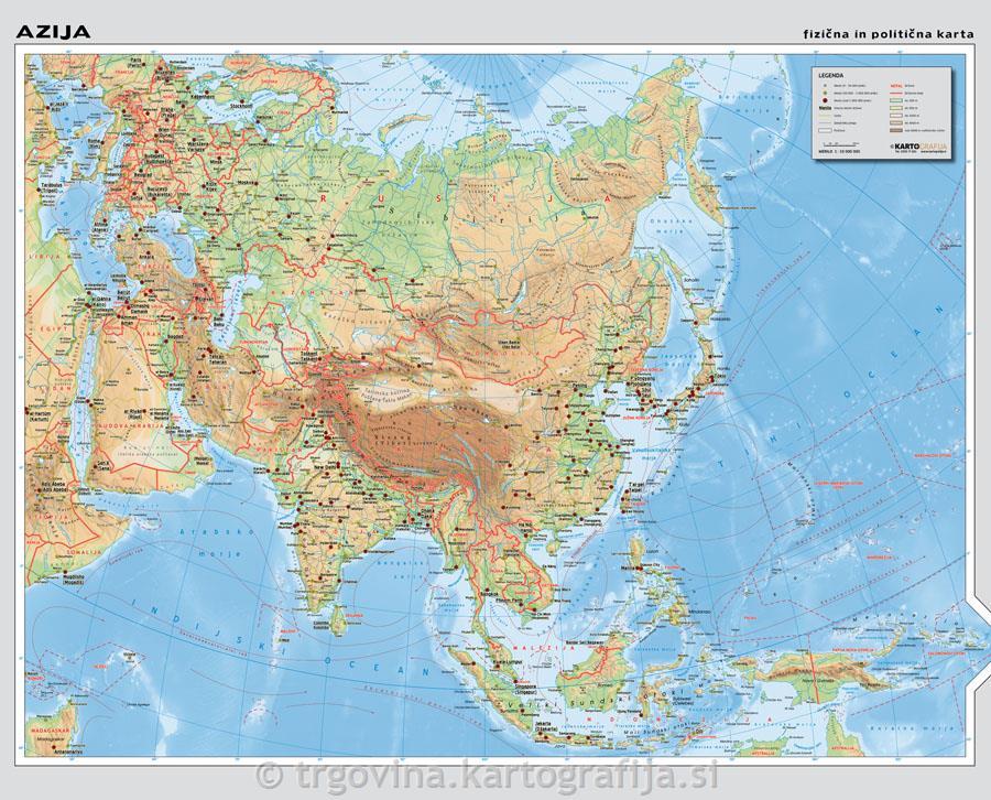 Azija Stenska Karta Solski Zemljevid 1 10m 158x128 Cm