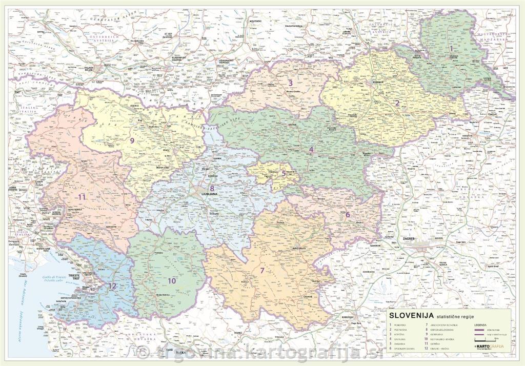 Regijska Karta Slovenije Statisticne Regije 104 X 76 Cm 104 X